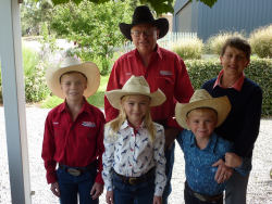 David and Carol Jackson with Jock, Harriet and George Nicholls, off to Marrabel Bull ride 2017.